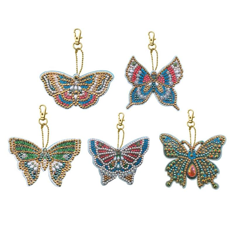 New 5Pcs Diy Special Shaped Full Butterfly Diamond Painting Keychain Kits Women Girl Bag Jewelry Handmade Gifts