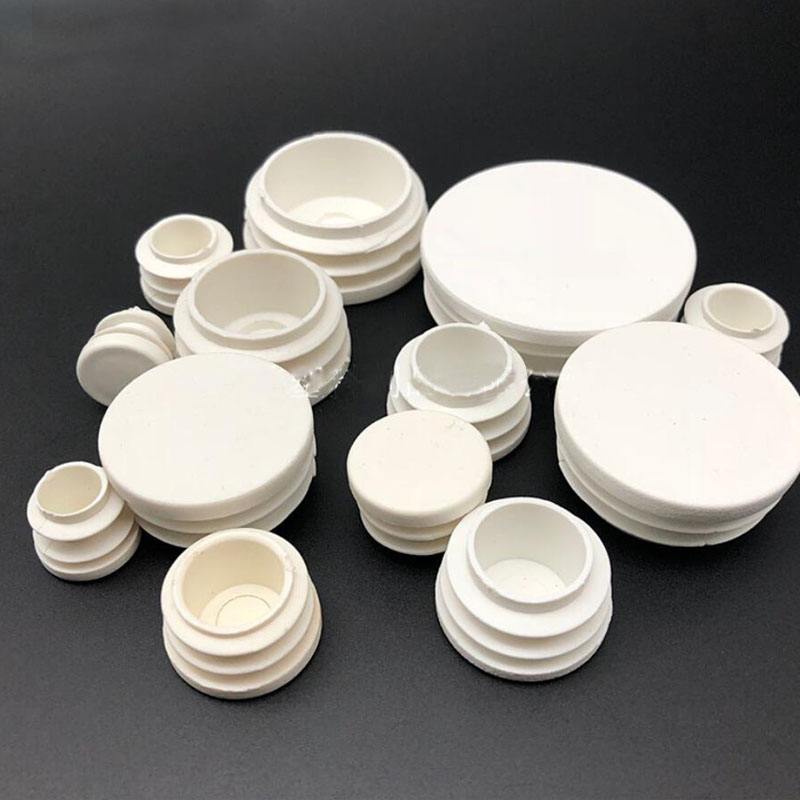 120pcs/lot White Plastic Blanking End Caps Round Pipe Tube Cap Insert Plugs Bung For Furniture Tables Chairs Protector