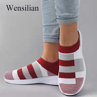 Fashion Sneakers Women Socks Shoes Mesh Vulcanized Shoes Ladies Casual Basket Femme Slip-On Trianers Female Zapatos De Mujer