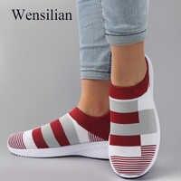 Zapatillas De deporte a la moda para Mujer, calcetines, Zapatos De malla vulcanizados, zapatillas informales para Mujer, zapatillas triangulares De Mujer
