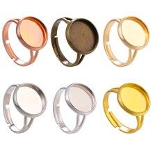 JUYA 10 шт./лот 12 мм Регулируемая пустая основа Кабошоны Камея Установка Для DIY кольцо бижутерия фурнитура Аксессуары для изготовления