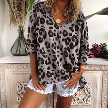 Women's V Neck Long Sleeve T-shirt Spring Leopard Print Casual Loose Female T