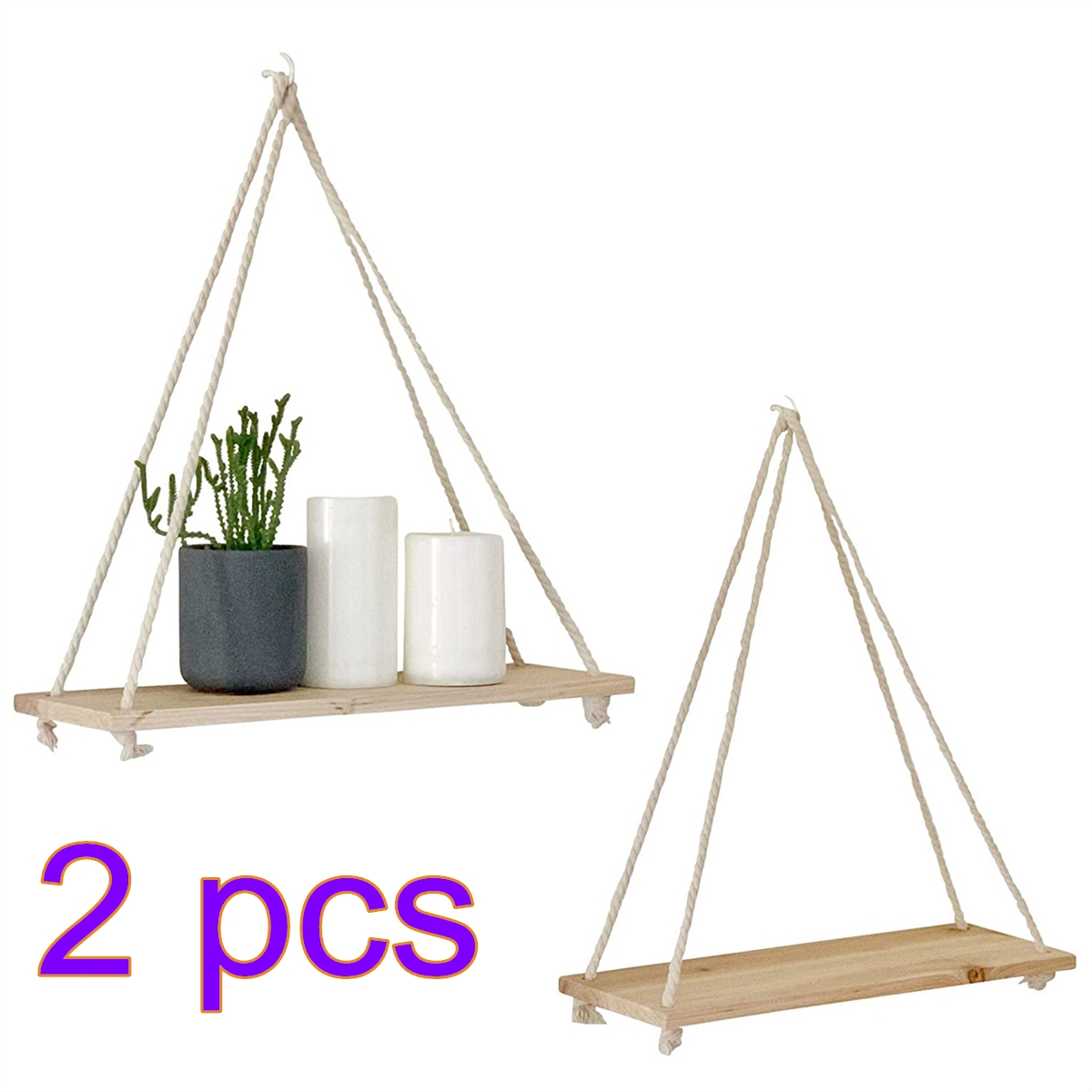 2PCS Wooden Rope Swing Wall Hanging Shelves Plant Flower Mounted Floating Wall Shelves Home Decoration Modern Simple Design