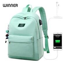 Kazanan düz renk baskı Laptop sırt çantası kızlar Usb şarj hayvan kolye çocuk okul çantaları kadın seyahat Mochila
