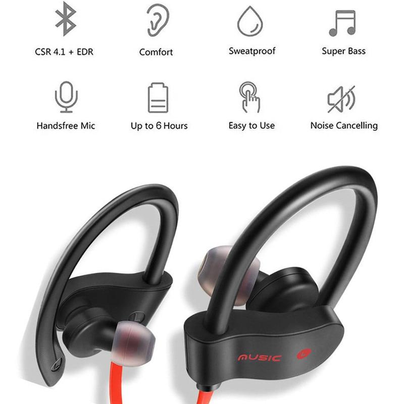 Bluetooth Earphone Earloop Earbuds Stereo Bluetooth Headset Wireless Sport Earpiece Handsfree With Mic For xiaomi Headphones 2