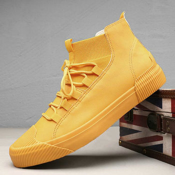New Hot sale fashion male casual shoes high top lace up Men s leather casual