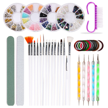 10Pcs/Set Nail Art Tool Set Manicure Buffers Glitter Nail Brush Dotting Pen Line Stickers Decorations Kit Artificial for DIY 1