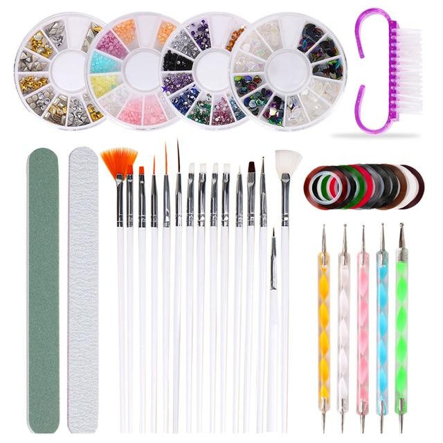 10Pcs/Set Nail Art Tool Set Manicure Buffers Glitter Nail Brush Dotting Pen Line Stickers Decorations Kit Artificial for DIY 1