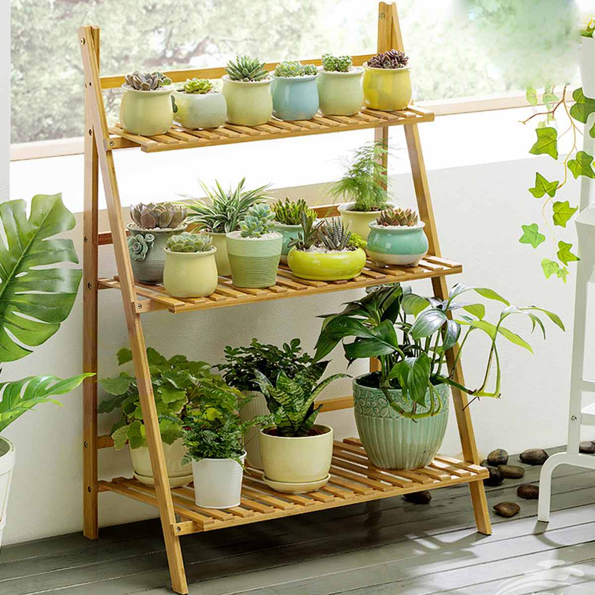 4/3/2 Layer 100cm Wood Flower Stand Decoration Plant Flower Pot Stand Wedding Balcony Garden Table Living Room Flower Shelf