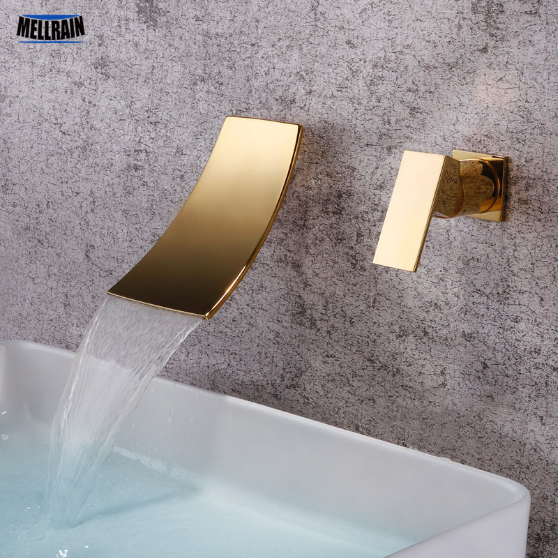 Gold & Black Separated Bathroom Sink Faucet Wall Mounted Waterfall Style Hot & Cold Basin Water Mixer Chrome Tap