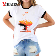 Women T Shirts Colorful Tree Butterfly 3D Print Animal Graphic Tees Summer Short Sleeve Casual White T-Shirt Woman Clothes Tops