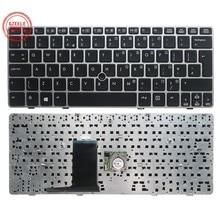 Reino unido/eua novo teclado para hp elitebook 2560 2560p 2570 2570p inglaterra portátil kb prata quadro