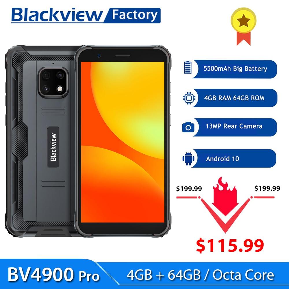 Blackview BV4900 Pro IP68 прочный телефон 4 Гб + 64 ГБ Android 10 Мобильный телефон 5580 мАч 5,7 ''NFC мобильных телефонов