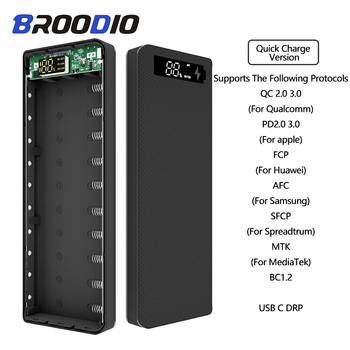 Quick Charge Version 10*18650 Power Bank Case Dual USB Mobile Phone Charge QC 3.0 PD DIY Shell 18650 battery Holder Charging Box quick charge version 5v dual usb 8 18650 power bank case mobile phone charger qc 3 0 diy shell 18650 battery holder charging box