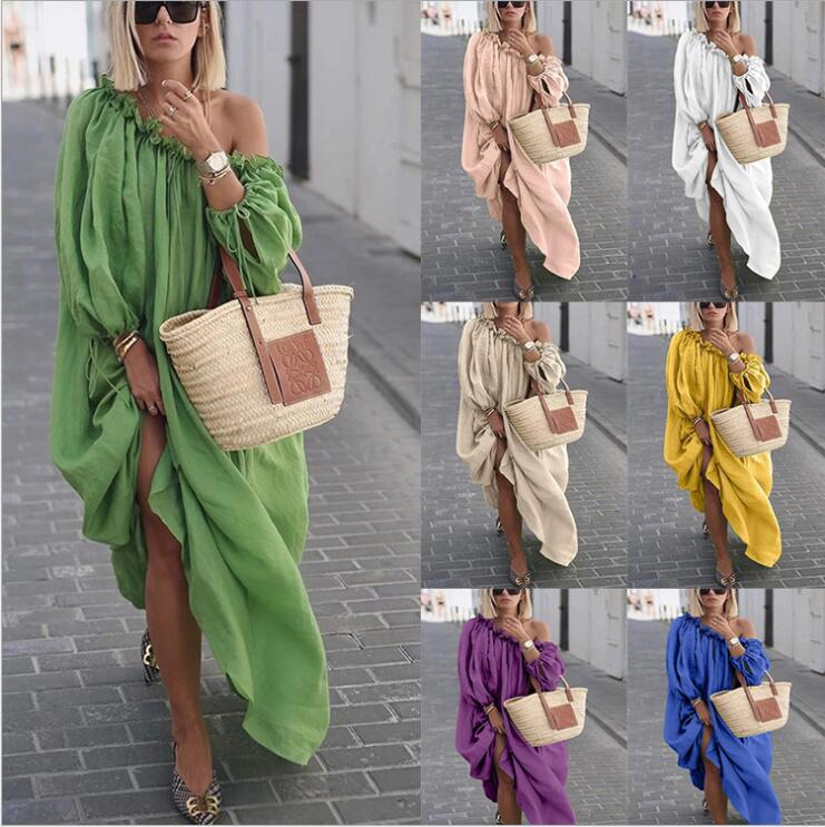 Bikinis Female 2019 Beach Dresses Pareo Women's Clothing For The Swimsuit Solid New Fund Autumn Loose Big Yards Boho Dress