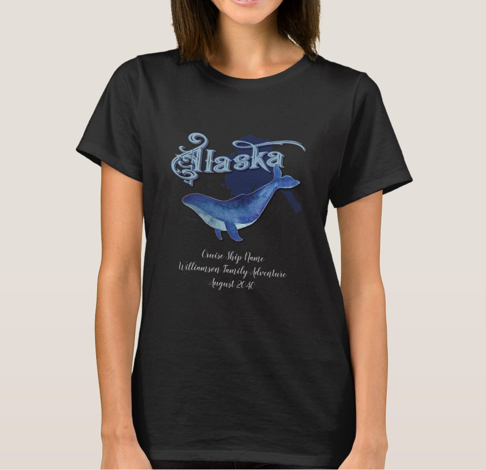 Alaska Cruise Family Vacation Whale Monogram Women's T-Shirt image