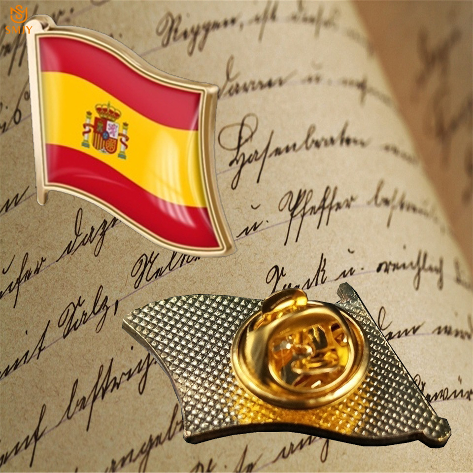 Euro National Emblem Paint Commemorative Badge Spain Enamel Flag Wear Pin Brooch Collection