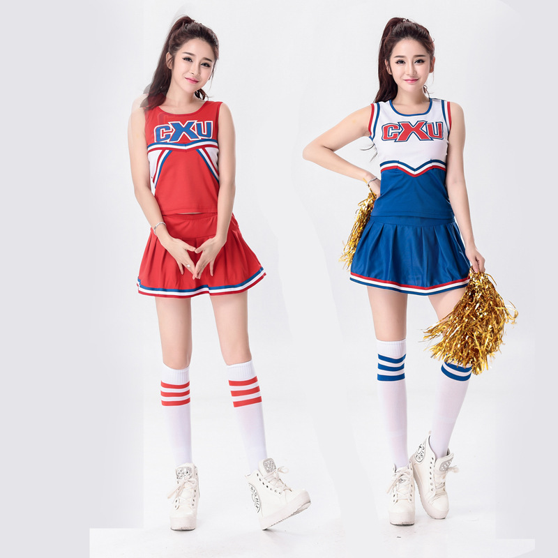Free Shipping Girls Cheerleader Uniform School Girl Costume Full Outfits Fancy Dress Costume Top+skirt 2pcs 2 Colors S-2 XL