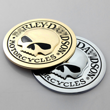 Skull Styling Metal Emblem Badge Car Stickers Side Fender Auto Accessories Rear Trunk Head Car Body Decal Decoration Motorcycle