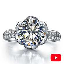 2 Carat NOT FAKE S925 Sterling Silver Ring SONA Diamond Round cut Lotus Queen Love Romance Ring Wedding Engagement simple 925 1 ct 925 sterling silver round cut crown sona simulation diamond ring 18k white gold plated ring us size from 4 to 12 jsa