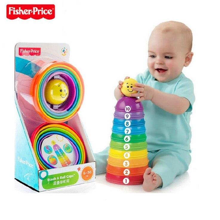 Fisher-Price basiques empiler rouleau tasses bébé éducatif jouet créatif brillant Pierwsze Klocki enfant cadeau d'anniversaire jouets pour enfants