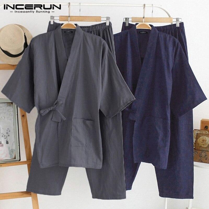 Японские мужские кимоно, пижамы, костюмы, мужской халат, халат, 2 шт./компл., халат, пижамы, свободные, хлопок, удобная Пижама, Hombre