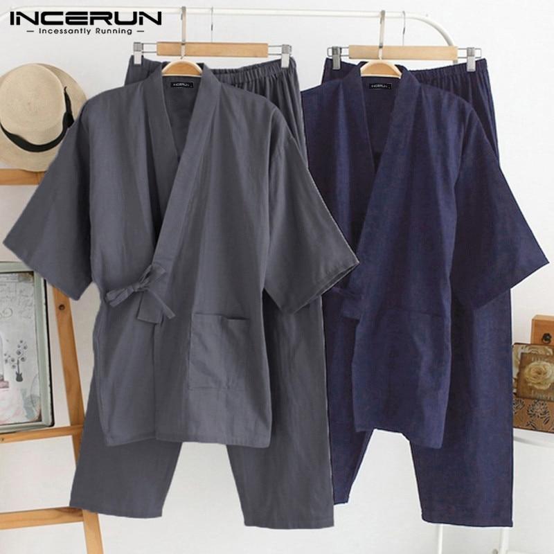 Japanese Mens Kimono Pajamas Suits Male Robe Gown 2Pcs/Set Lounge Bathrobe Sleepwear Loose Man Cotton Comfortable Pajamas Hombre