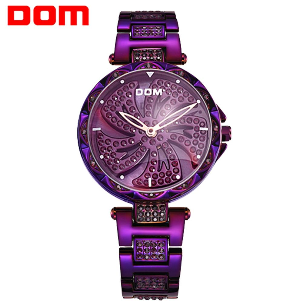 DOM Watches Women Rotated Dial Fashion Casual Female Wristwatch Luxury Brand Waterproof Purple Women Watch Clock G-1258PK-6MF