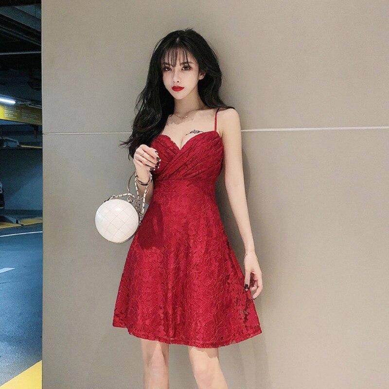 Вечерние платья трапециевидной формы, элегантное сексуальное стильное платье на бретельках с v-образным вырезом для женщин, кружевное плат...