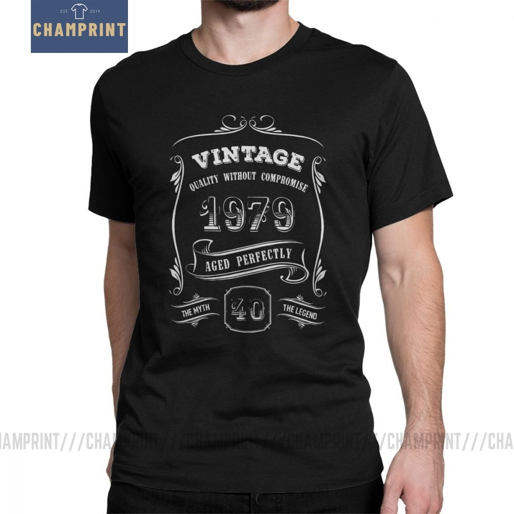 Vintage 1979 <font><b>40th</b></font> <font><b>Birthday</b></font> T-Shirt Anniversary Gift <font><b>Idea</b></font> Man T Shirt Casual 100% Cotton Short Sleeve Tees Wholesale Clothes image