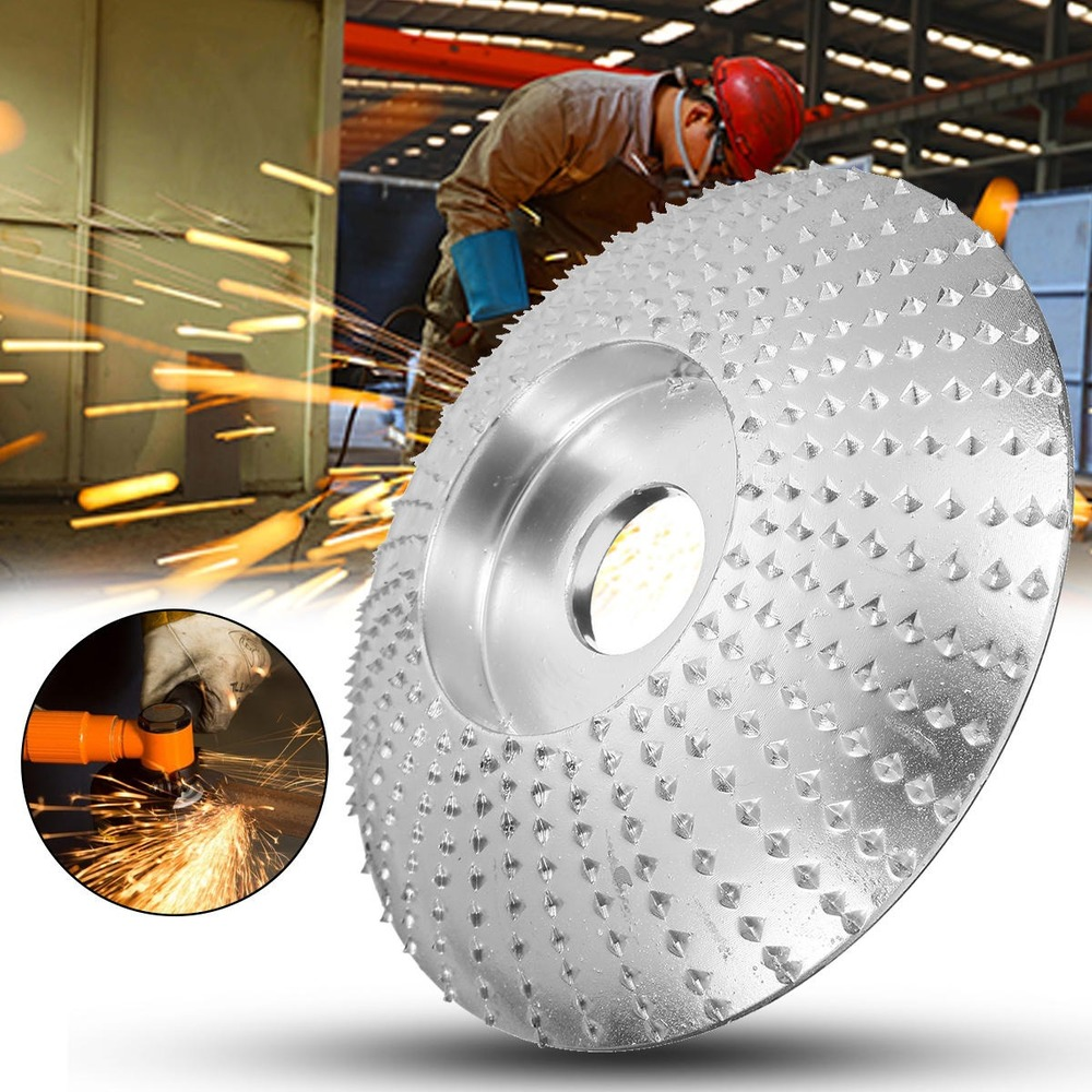 JUSTINLAU Arc 84x16mm Silver Chrome Wood Grinding Wheel Rotary Disc Sanding Wood Carving Tool Abrasive Disc