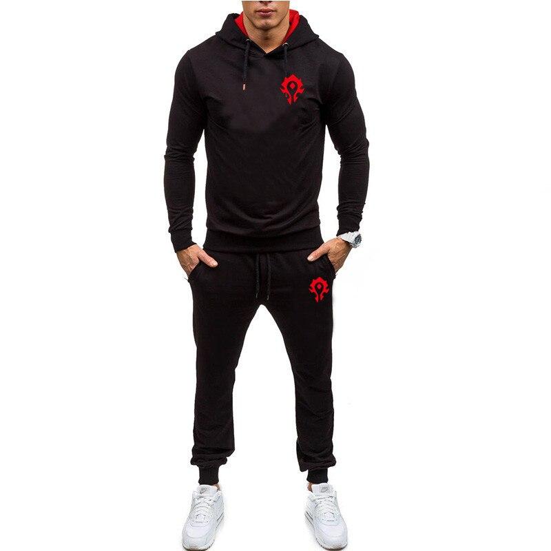 New Long Sleeve Hoodies Streetwear Men's Autumn Patchwork  Sweatshirt Top Pants Sets Fitness Sports Suit  Thin Men's Suit