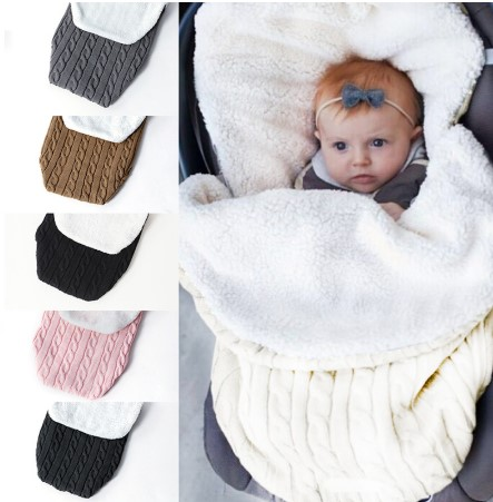 Oeak Warm Baby Blanket Soft Baby Sleeping Bag Footmuff Cotton Knitting Newborn Swadding Wrap Stroller Accessories Sleepsacks