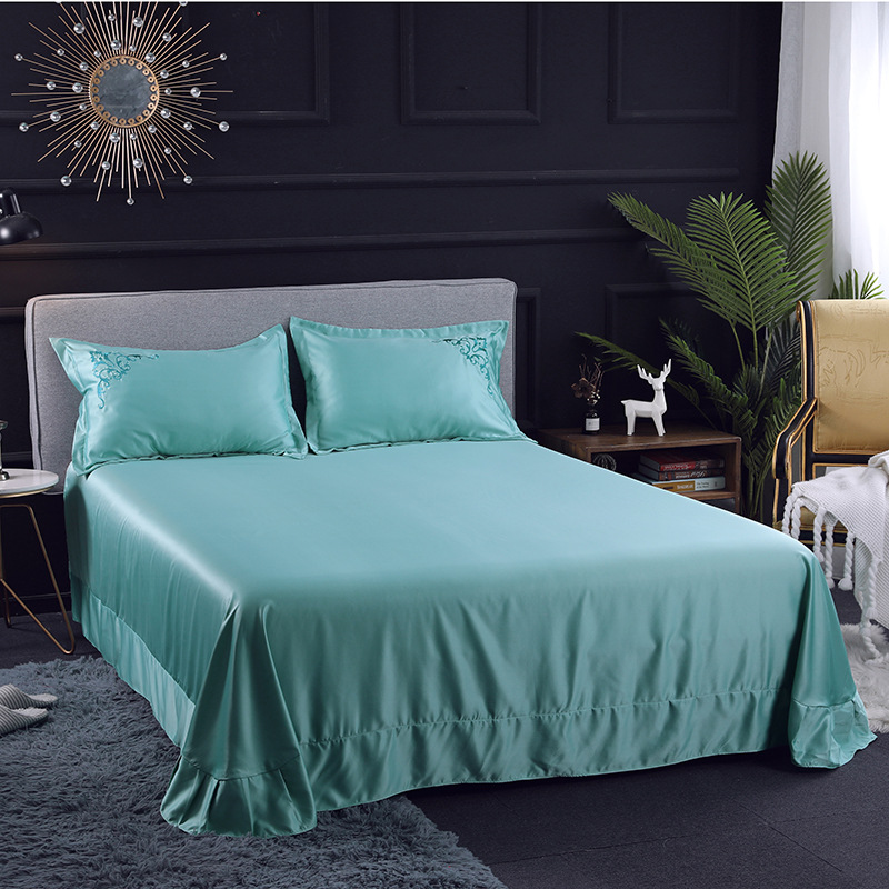 Double-Sided Washing Real Silk Solid Color Simple Embroidered Four-piece Set Embroidery Bedding Article