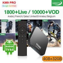 IPTV France Arabic QHDTV 1 Year IP TV KM9 Pro Android 9.0 4G+32G BT Dual-Band WIFI Belgium