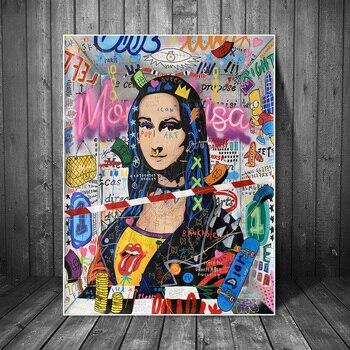 Graffiti Art Mona Lisa Modern Abstract Paintings Printed on Canvas 1