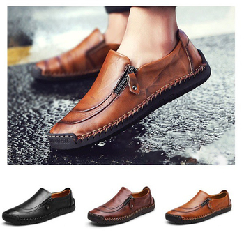 Plus 48 Original Genuine Leather Men Shoes Breathable Leisure Dress Man Shoes Beans Zip Brand Design Round Toe Shoes