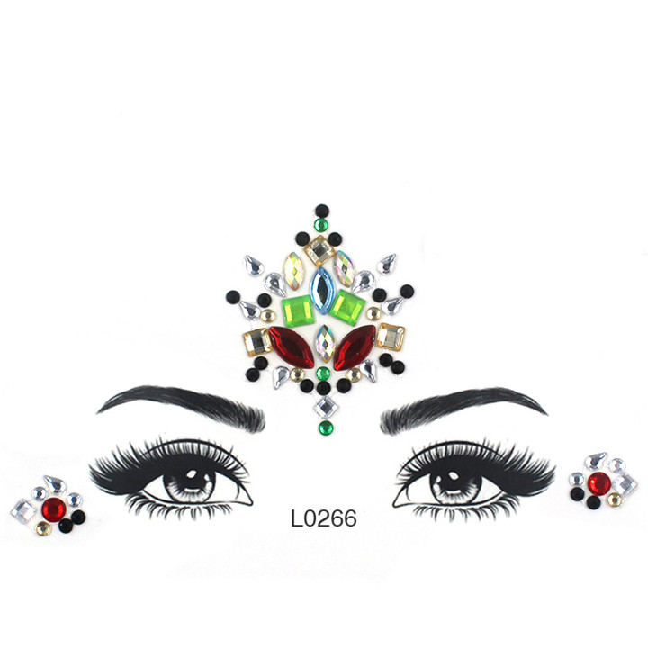 2  Acrylic Jewelry Stickers Colorful Rhinestone Face Stickers For Women Eyebrow Eye Masquerade Decor Resin DIY Drill Face Sticker