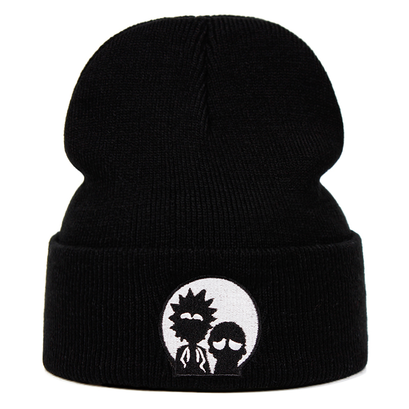 2020 Rick Beanies Rick And Morty Hats Elastic Brand Embroidery Warm Winter Unisex Knitted Hat Skullies US Animation Ski Cap