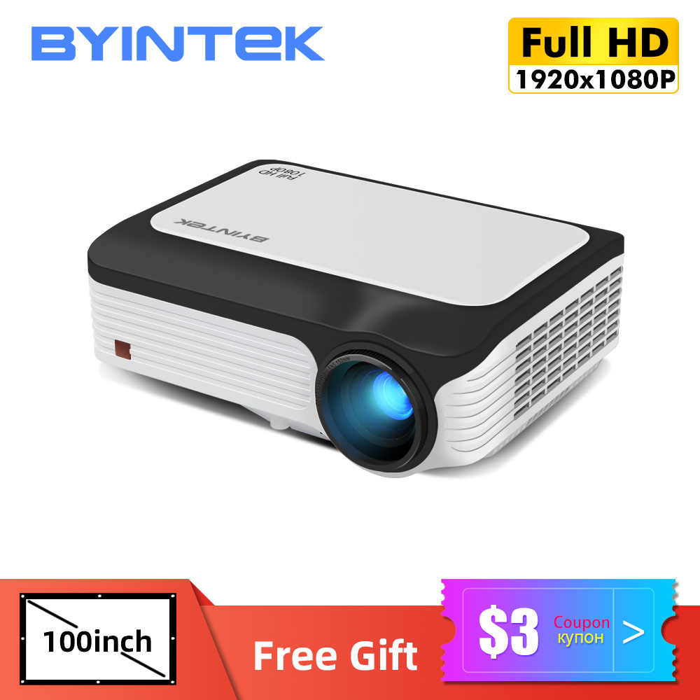 BYINTEK Penuh HD Proyektor M1080,1920X1080P, Smart (2GB + 16GB) android WIFI Proyektor Portabel LED Mini Projector untuk 3D 4K Cinema