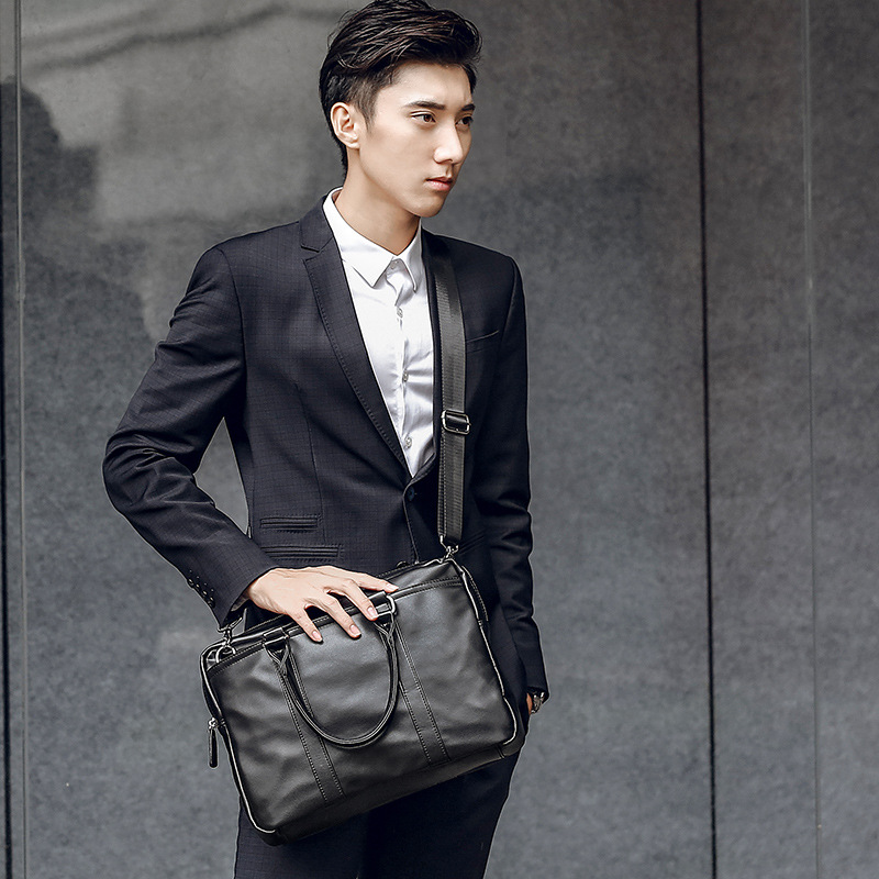 New Portable Commuter OL Business Bag Leather Fashion Youth Shoulder Crossbody Bag Casual Trendy Men's Briefcase