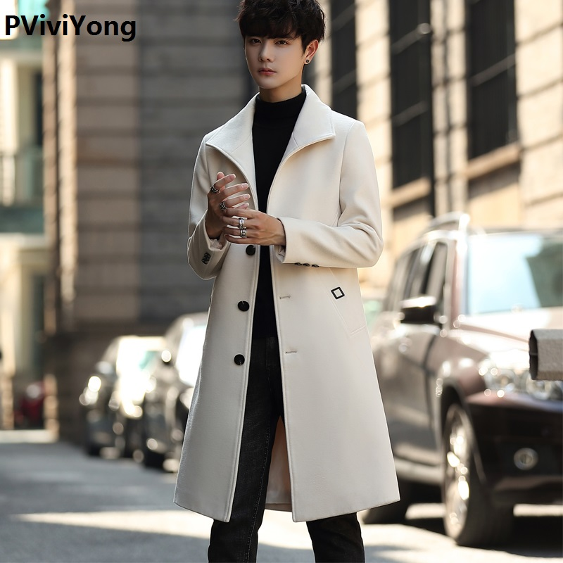 PViviYong 2019 Korea New Arrival Autumn&winter High Quality Wool Trench Coat Men,men's Wool Turn-down Collar Long Jackets Men  Plus-size M-3XL 9807