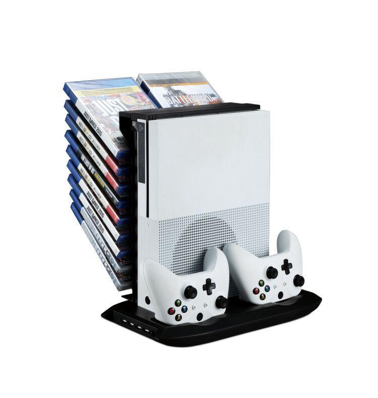 Ventilateur multifonctionnel mince de Dissipation thermique de Xbox ONE + support plat ventilateur fixe Rechargeable de chargeur de Version mince de Xbox ONE