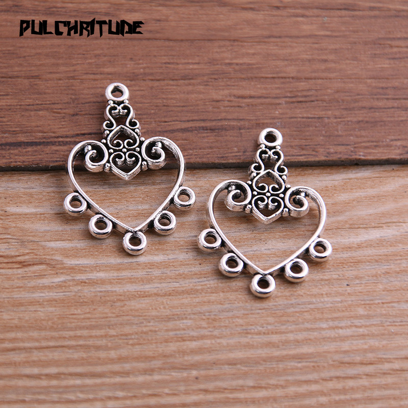 10pcs Bronze Hollow Heart Alloy Ball Beads Connector Charms DIY Jewelry Making