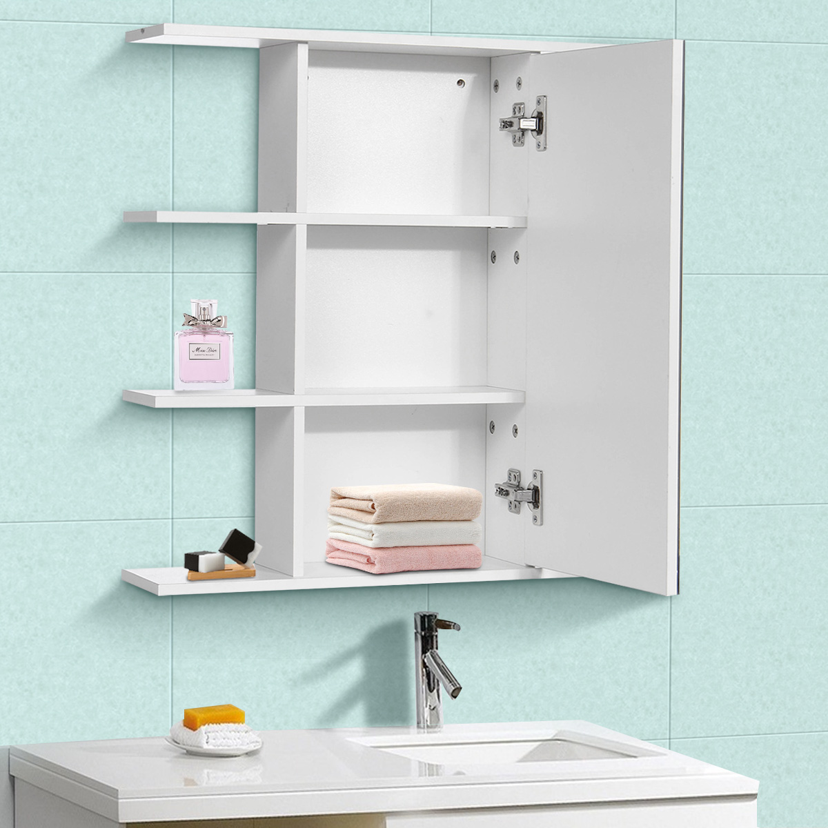 Bathroom Cabinet with Mirror Wall Mounted Bathroom Toilet Furniture Cabinets Cupboard Shelf Cosmetic Storager 60x60x14.5cm