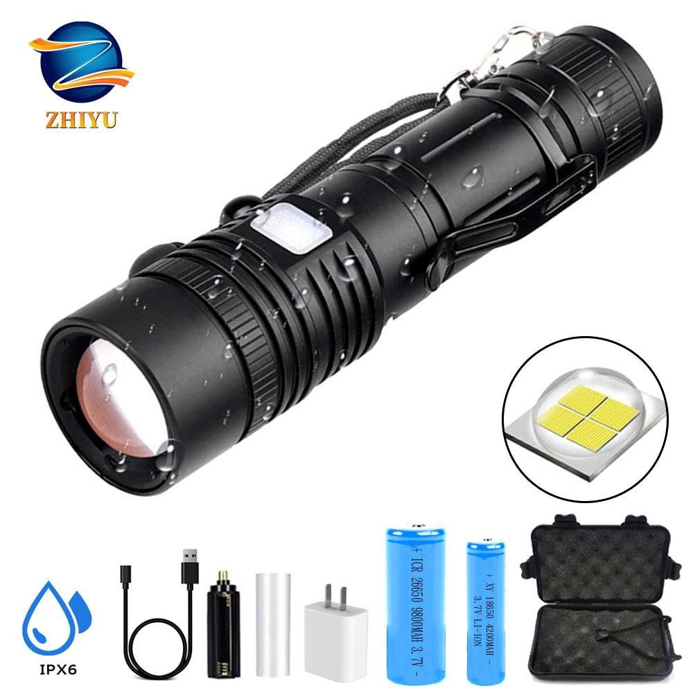 ZHIYU XHP50 LED Flashlight Aluminum Alloy Glare Light USB Rechargeable Torch Retractable Portable Flashlight For Outdoor