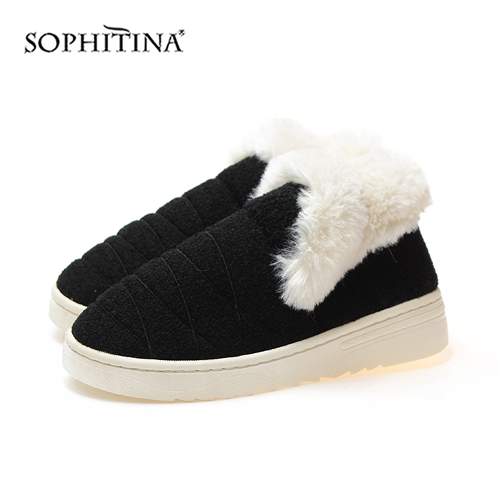 SOPHITINA Solid Comfortable Slipper Winter Round Toe Fashion Design New Shoes Very Warm Slipper MO371 4