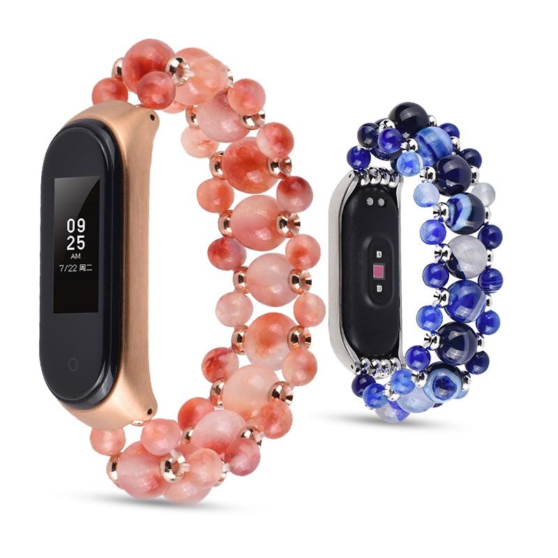 Agate Bracelet For Xiaomi Mi Band 3 4 Sport Strap Watch Silicone Wrist Strap For Xiaomi Mi Band 3 4 Bracelet Miband 4 3 Woman