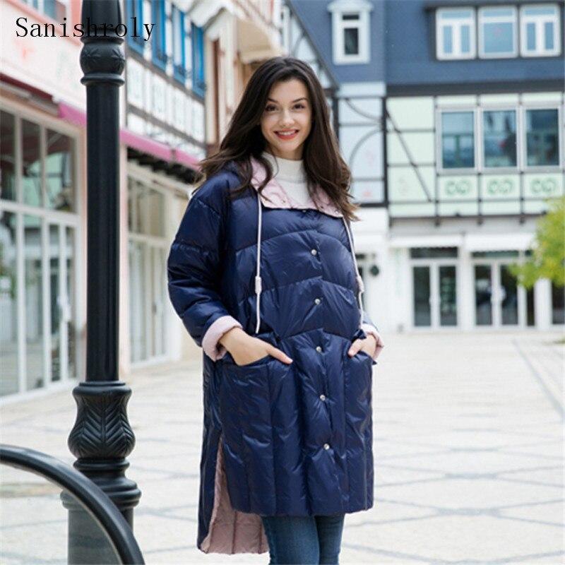 Sanishroly New Women Double   Down   Outerwear Casual Light White Duck   Down     Coat   Parka Female Long Hodded Jacket Tops Plus Size S718