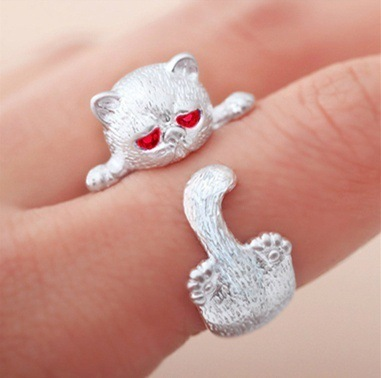 Glamour Wrapped Cat Open Ring Female Handmade Original Fashion Girl Prevents Allergic Silver Jewels 4